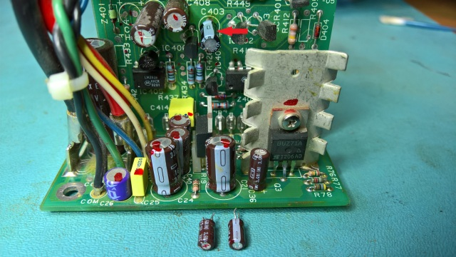 H7878 PSU Board With Removed High ESR Capacitors