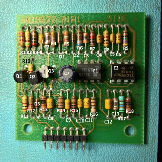 Labelled parts on the 5019572 daughter board for the H7826 Power Supply
