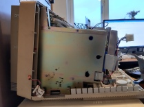 VAXmate floppy disk drive. The rubber bumpers have deteriorated and left a bit of a mess on the board.